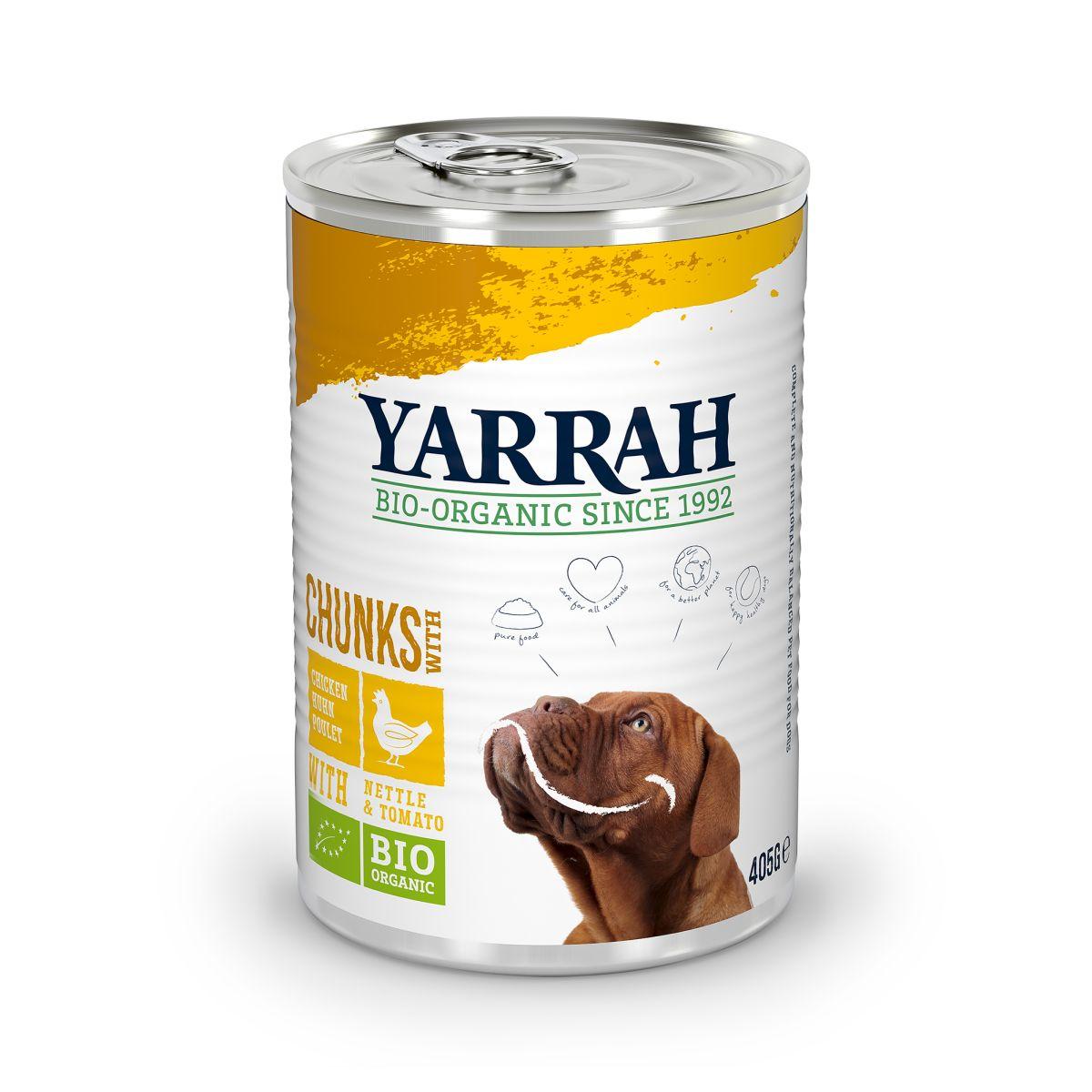 Yarrah - biologische brokjes in saus kip met brandnetel en tomaat meerkleurig 405 gr