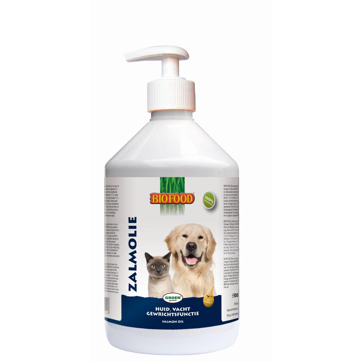 Biofood Zalmolie voor hond en kat 500 ml
