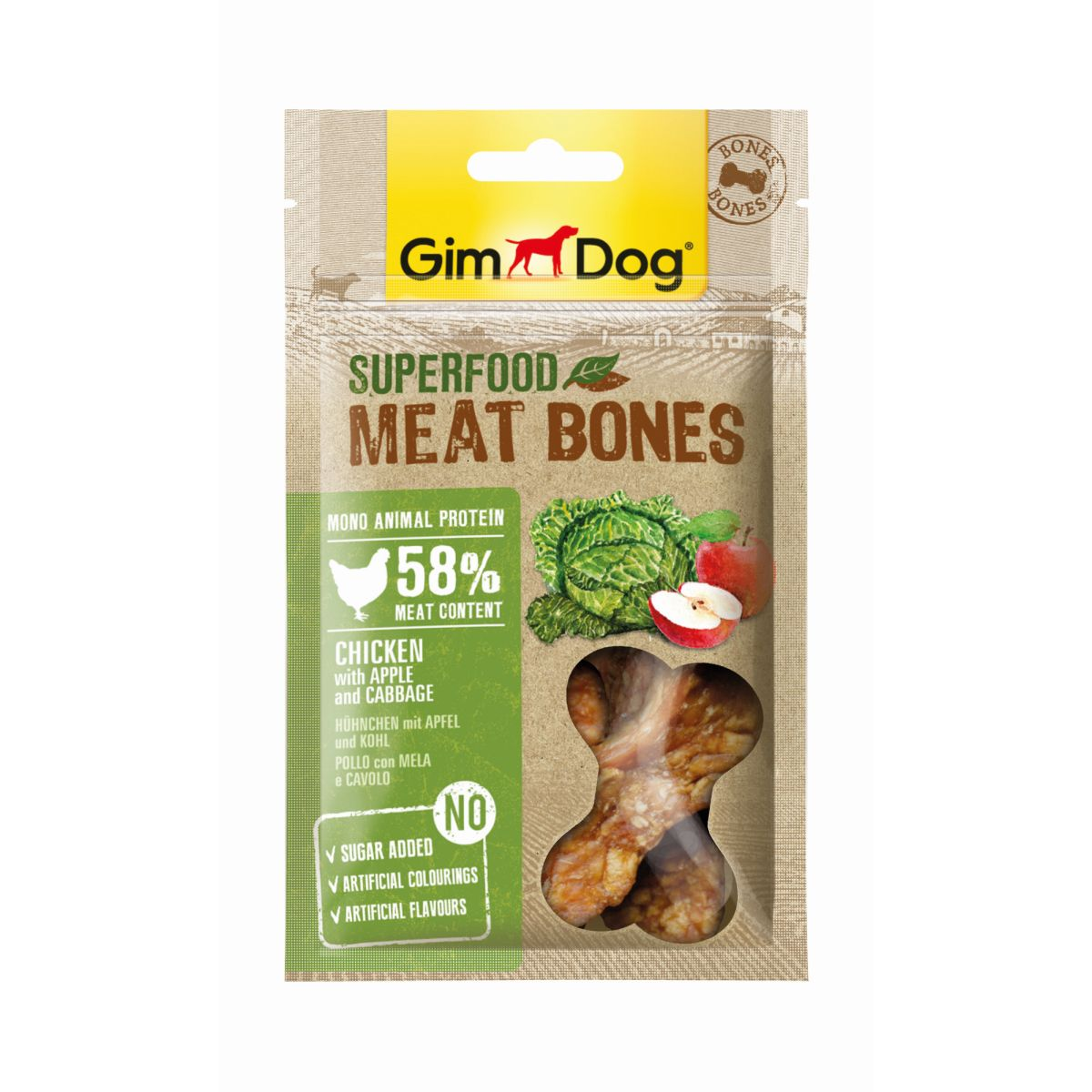 GimDog Superfood Meat Bones Kip, Appel & Kool 70 g