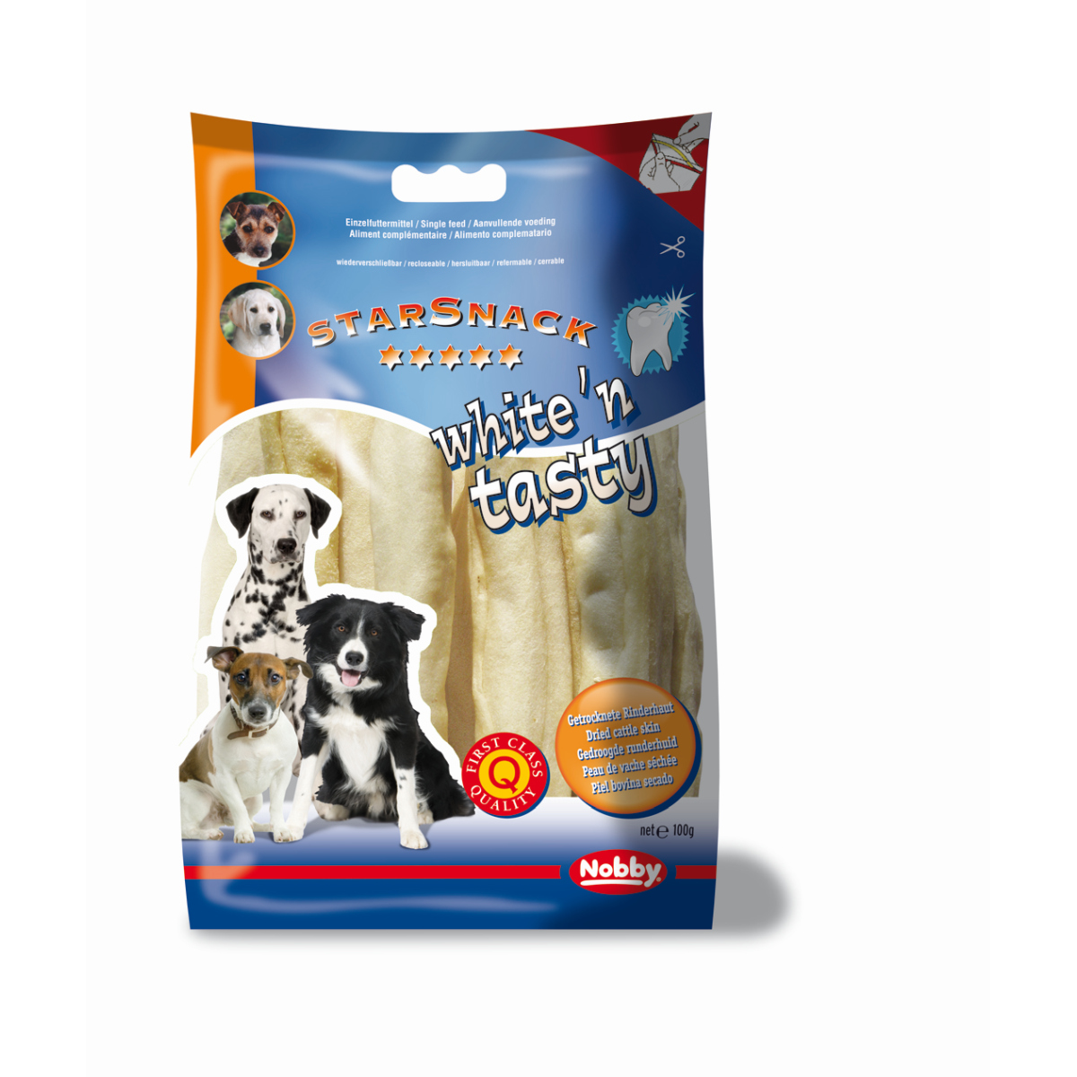 Nobby - starsnack white&tasty kauwrol wit 100 gr