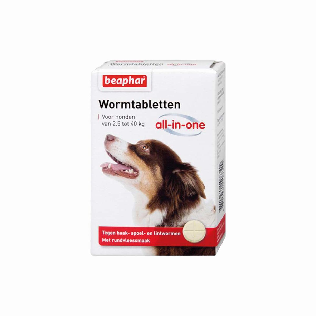 Beaphar Wormmiddel All-in-One (2,5 - 40 kg) hond 4 Tabletten