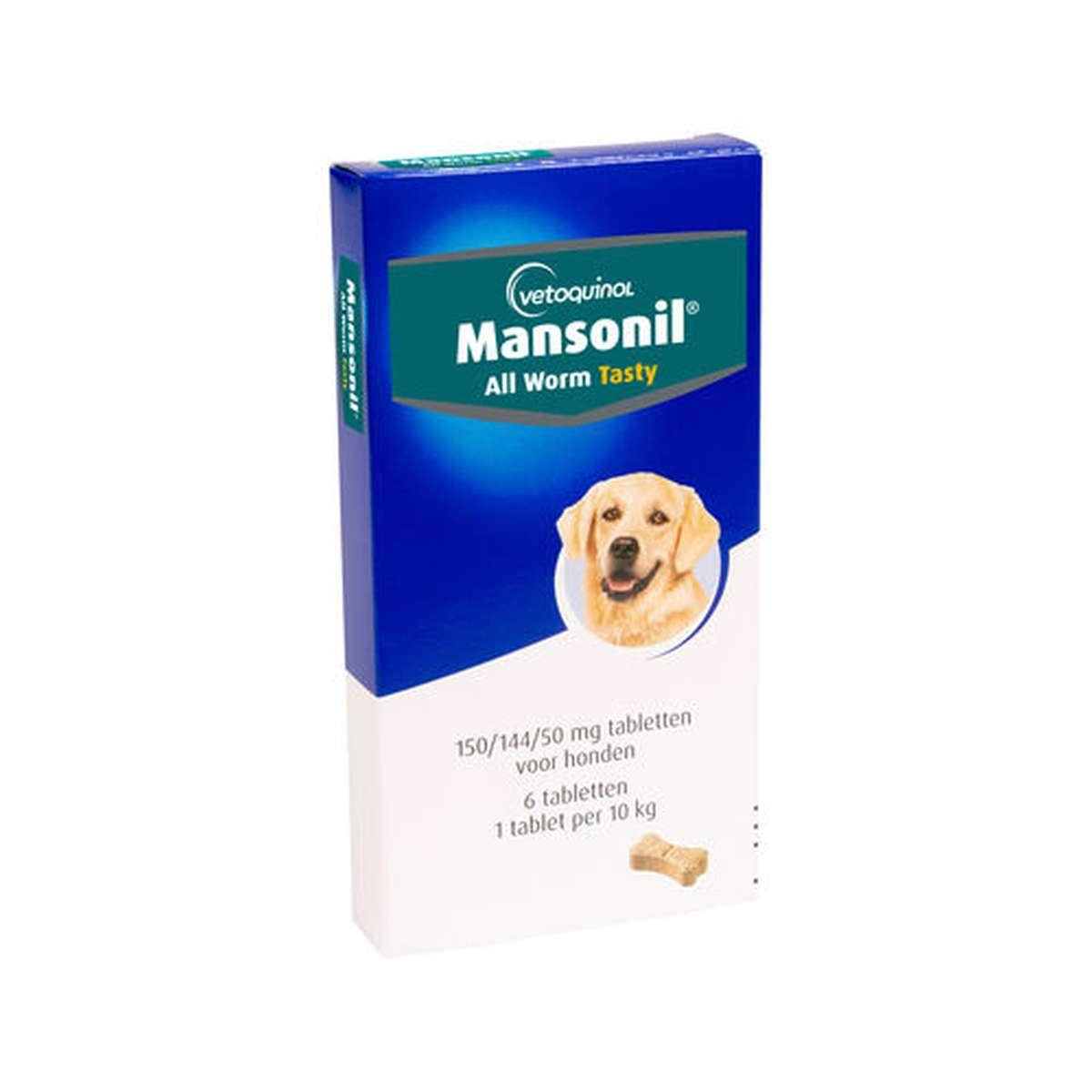 Productafbeelding voor 'Mansonil - all worm flavour hond meerkleurig 6 tabl'