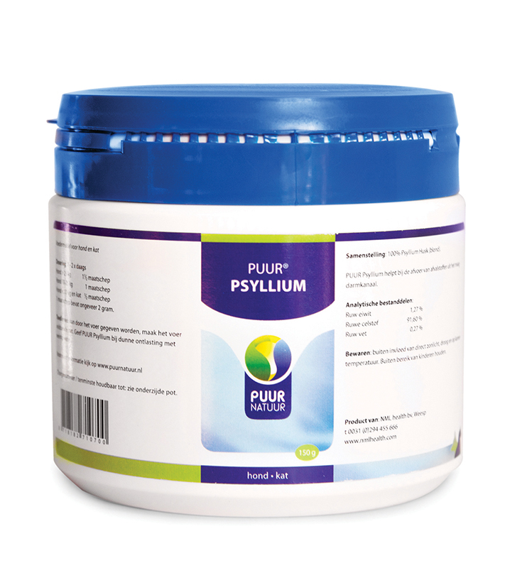Psyllium voor hond en kat wit 150 gr