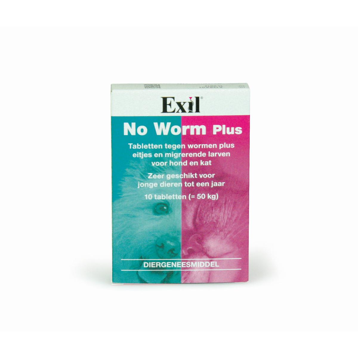 No worm plus hond&kat blauw/roze 10 tabl