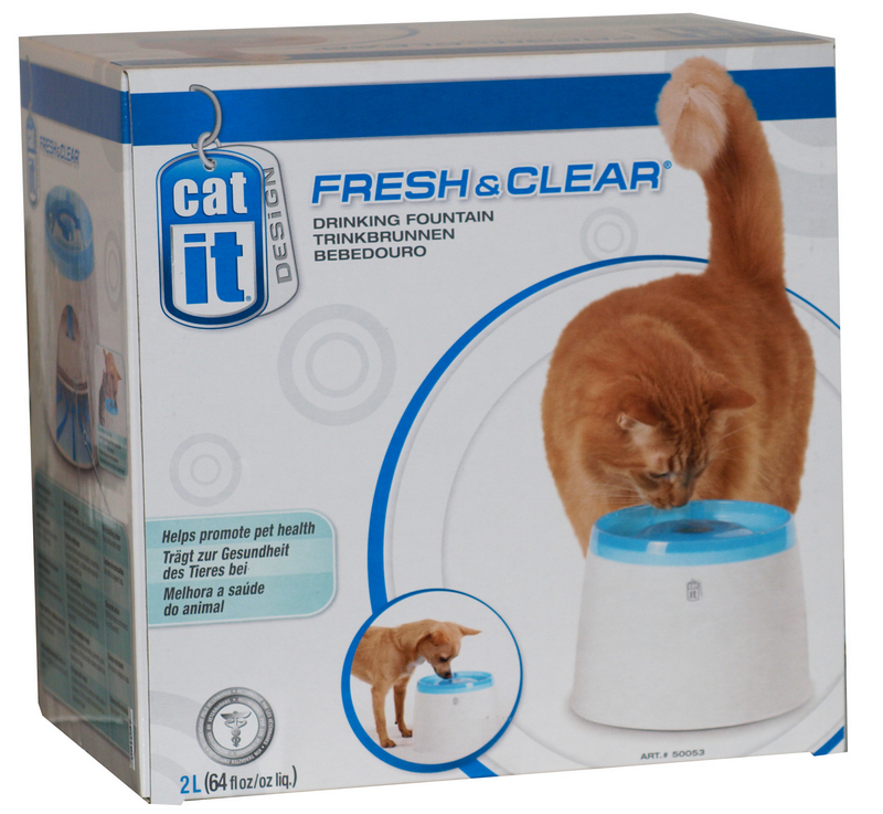 Cat-it - drinkfontein wit/blauw 2 liter