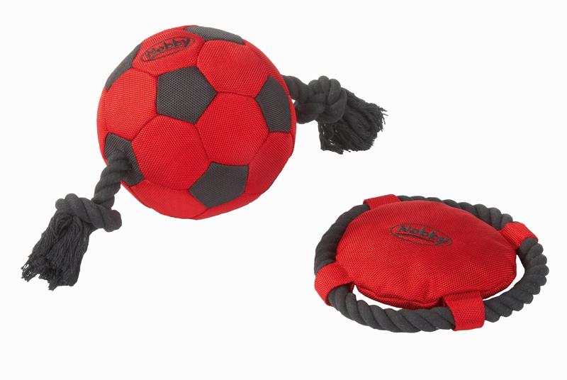 Frisbee met touw van katoen rood/zwart