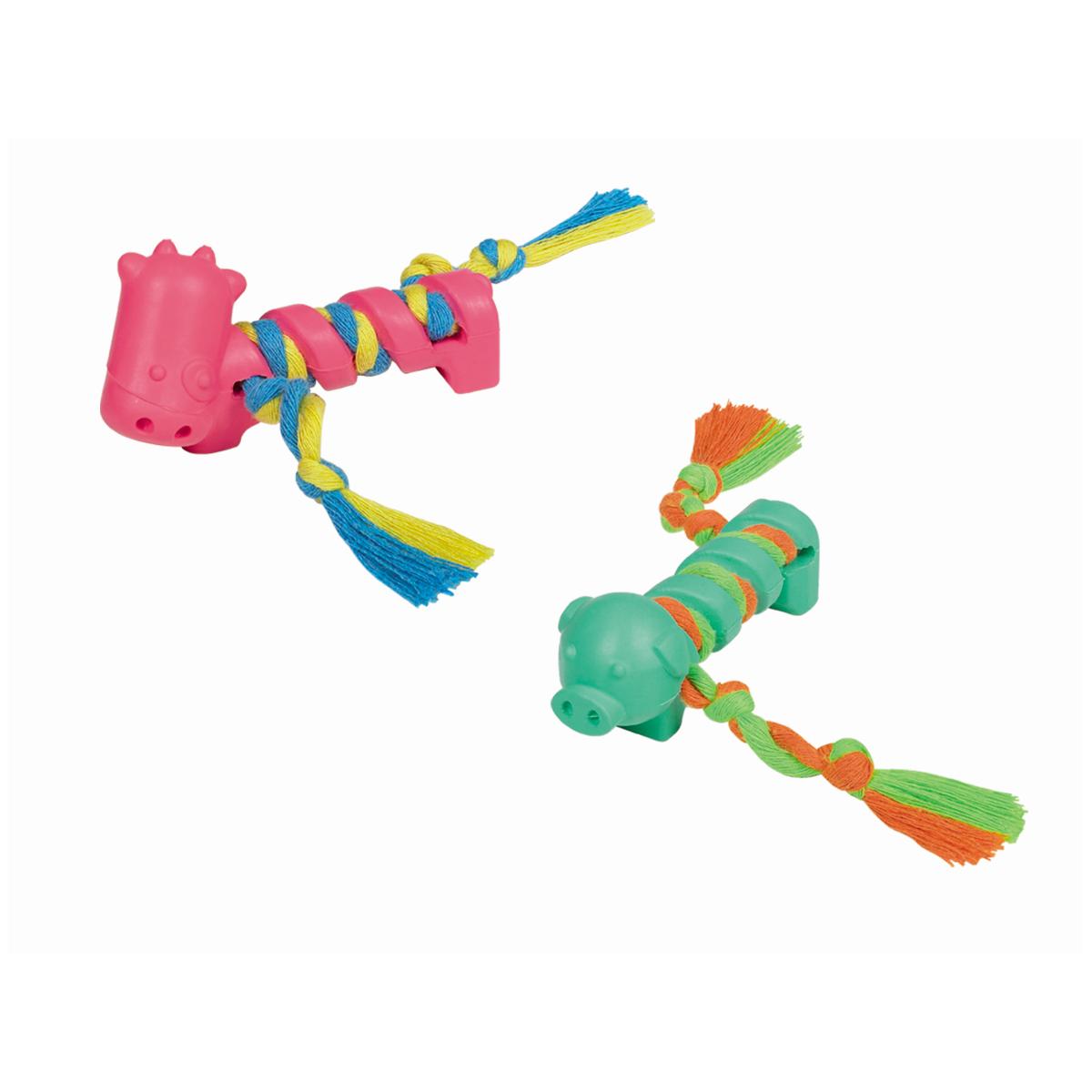 Rubber speeltje met touw lichtblauw 3 st