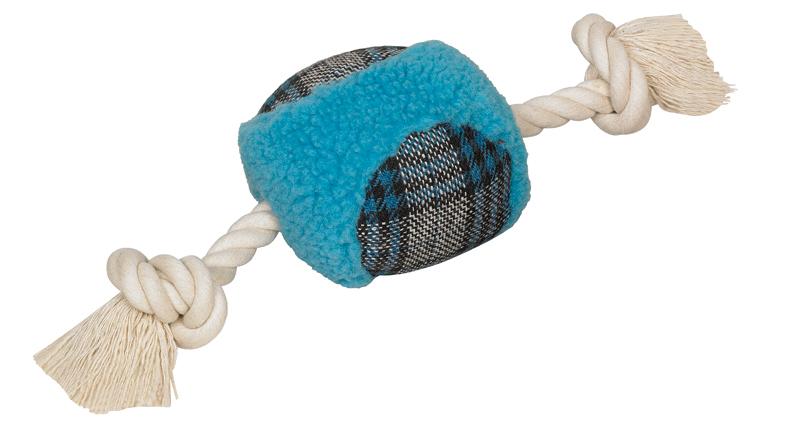 Speeltouw met pluche bal blauw 3 st