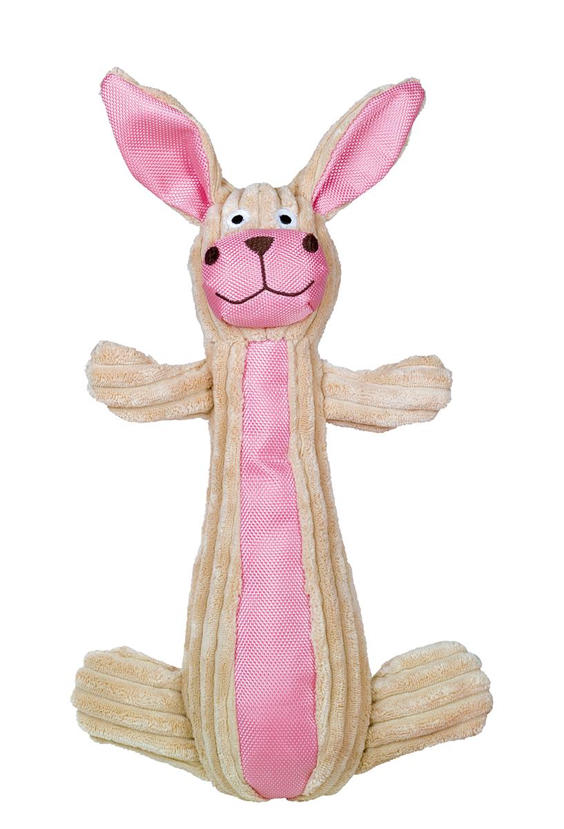 Pluche met nylon konijn beige/roze