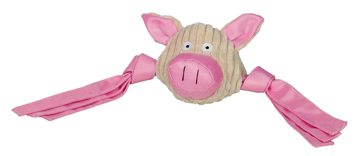 Pluche met nylon varkenskop beige/roze