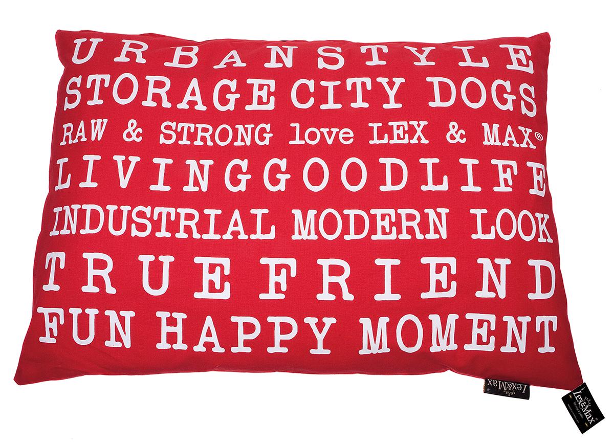 Productafbeelding voor 'Lex & max - kussen met tekst urban rood'