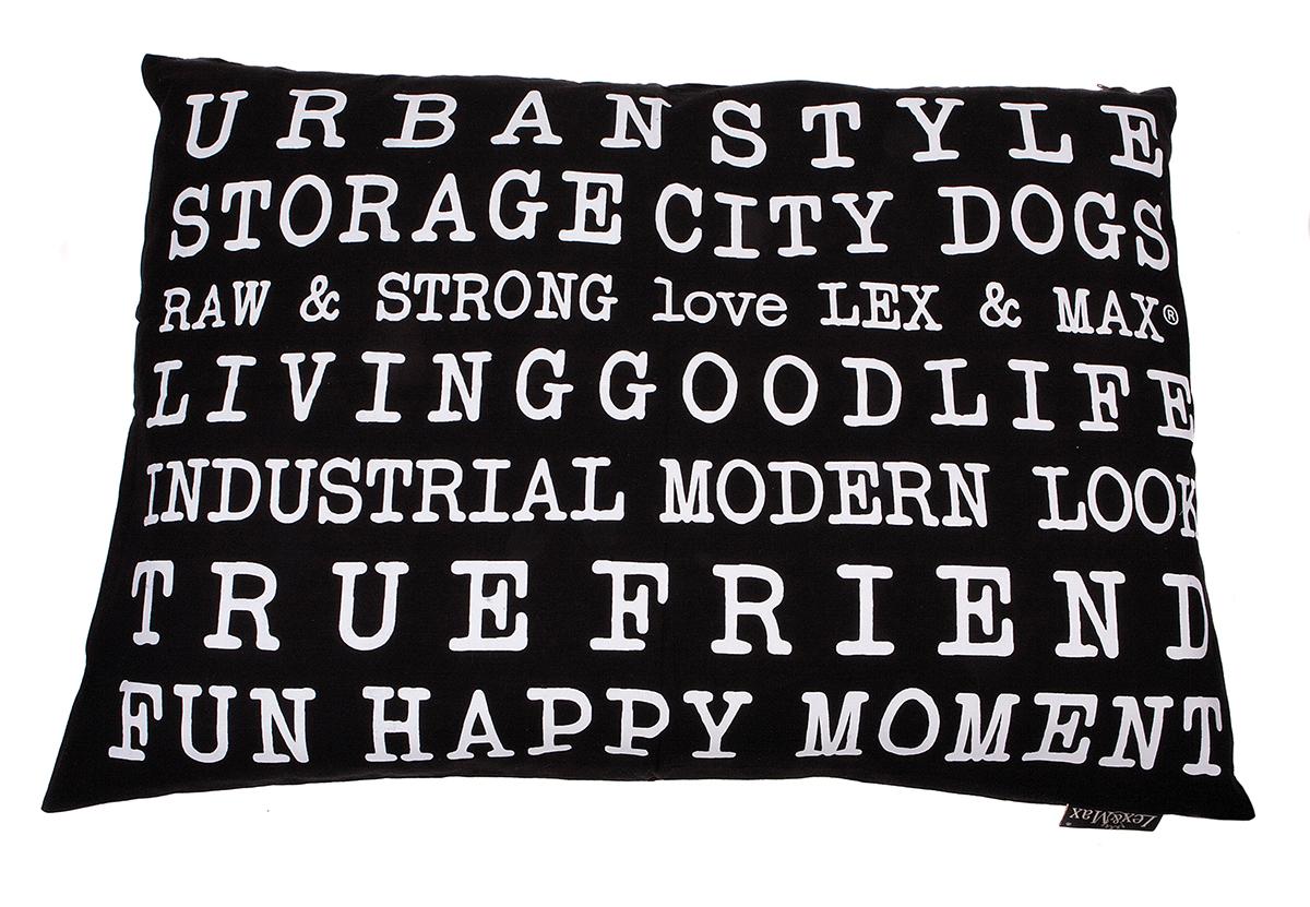 Lex & max - kussen met tekst urban zwart