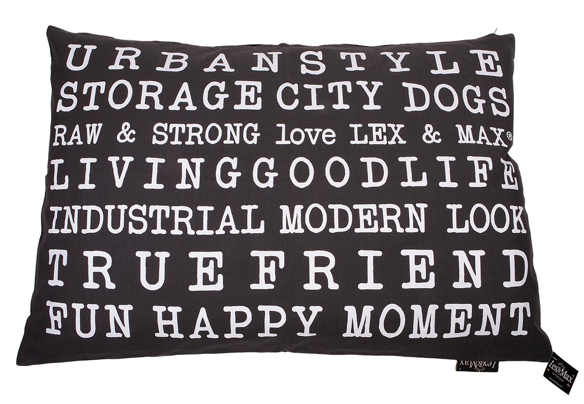 Productafbeelding voor 'Lex & max - kussen met tekst urban antraciet'