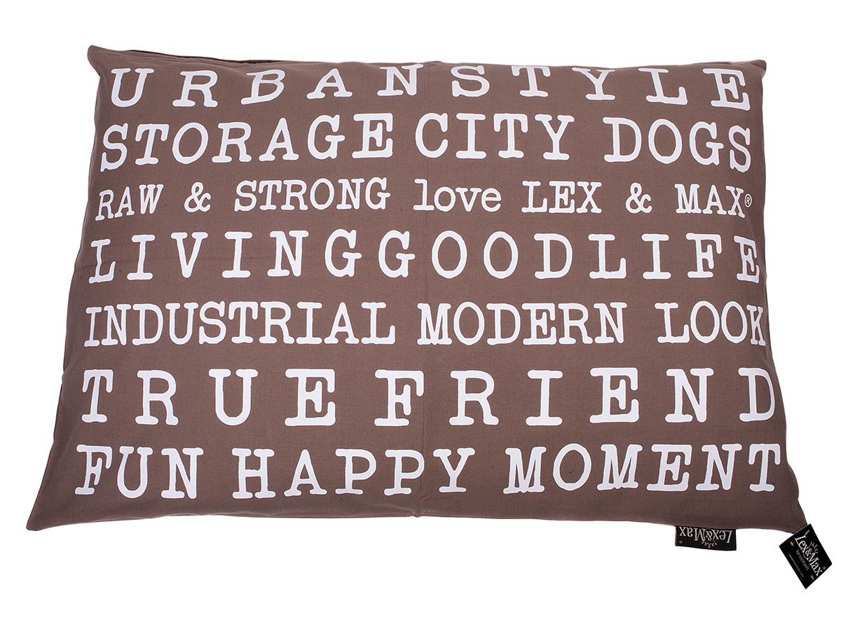 Productafbeelding voor 'Lex & max - kussen met tekst urban taupe'