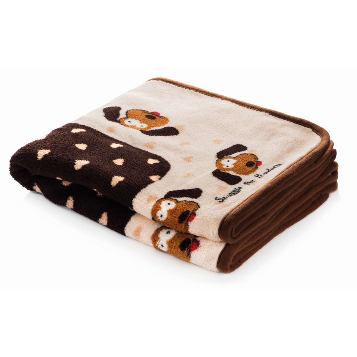 Smart pet love - snuggle blanket bruin/beige met puppy print