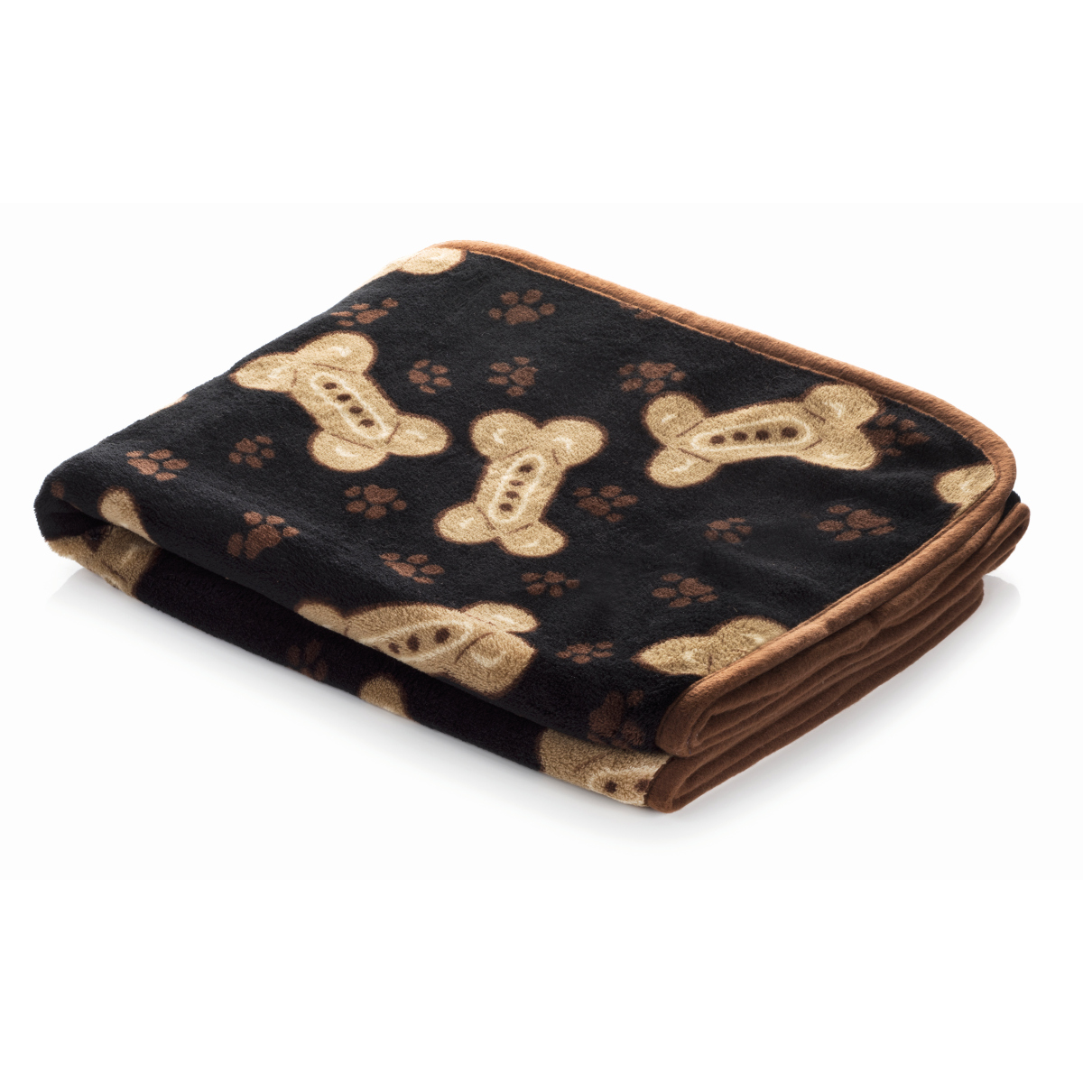 Smart pet love - snuggle blanket zwart met beige botten print