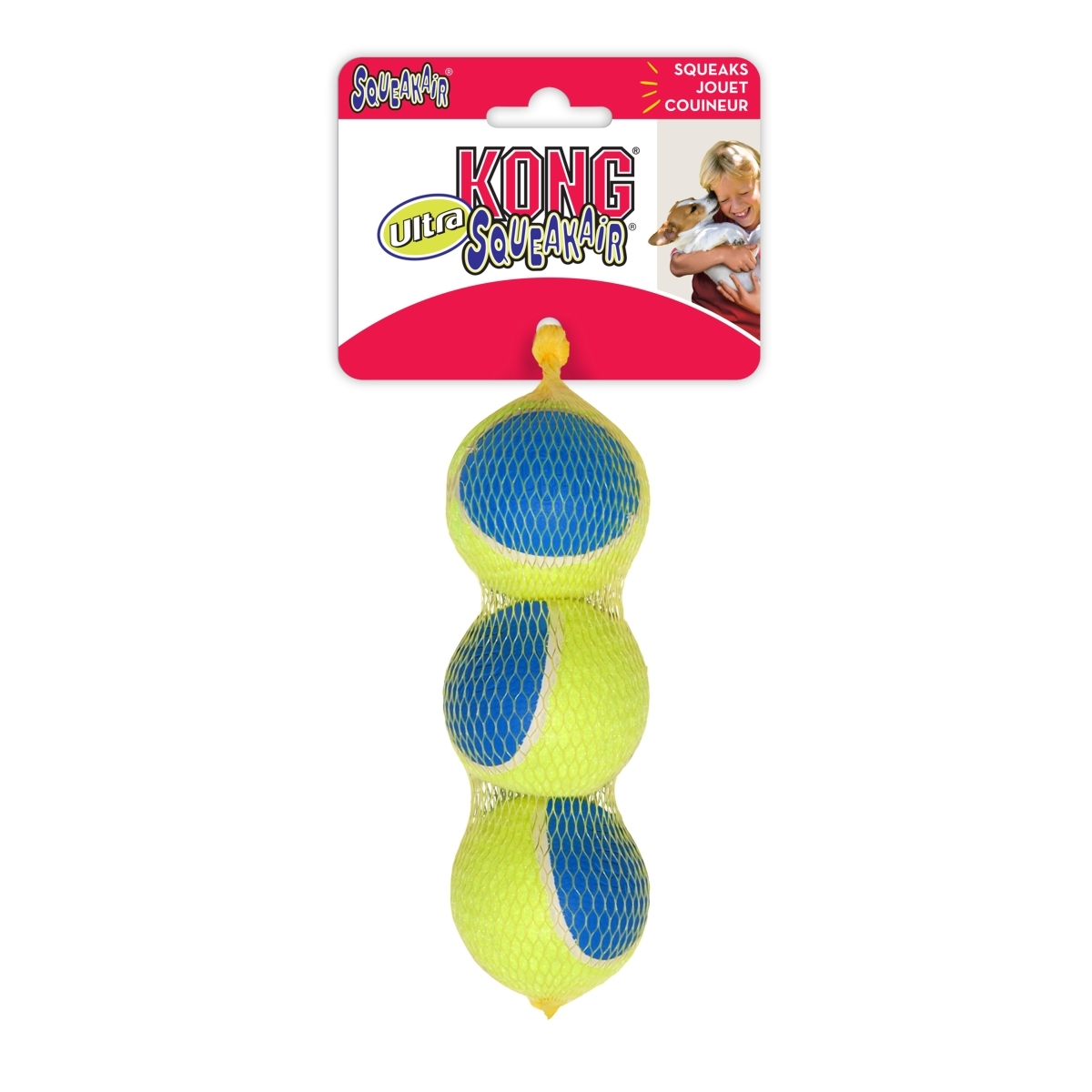 Ultra squeakair ball blauw/geel