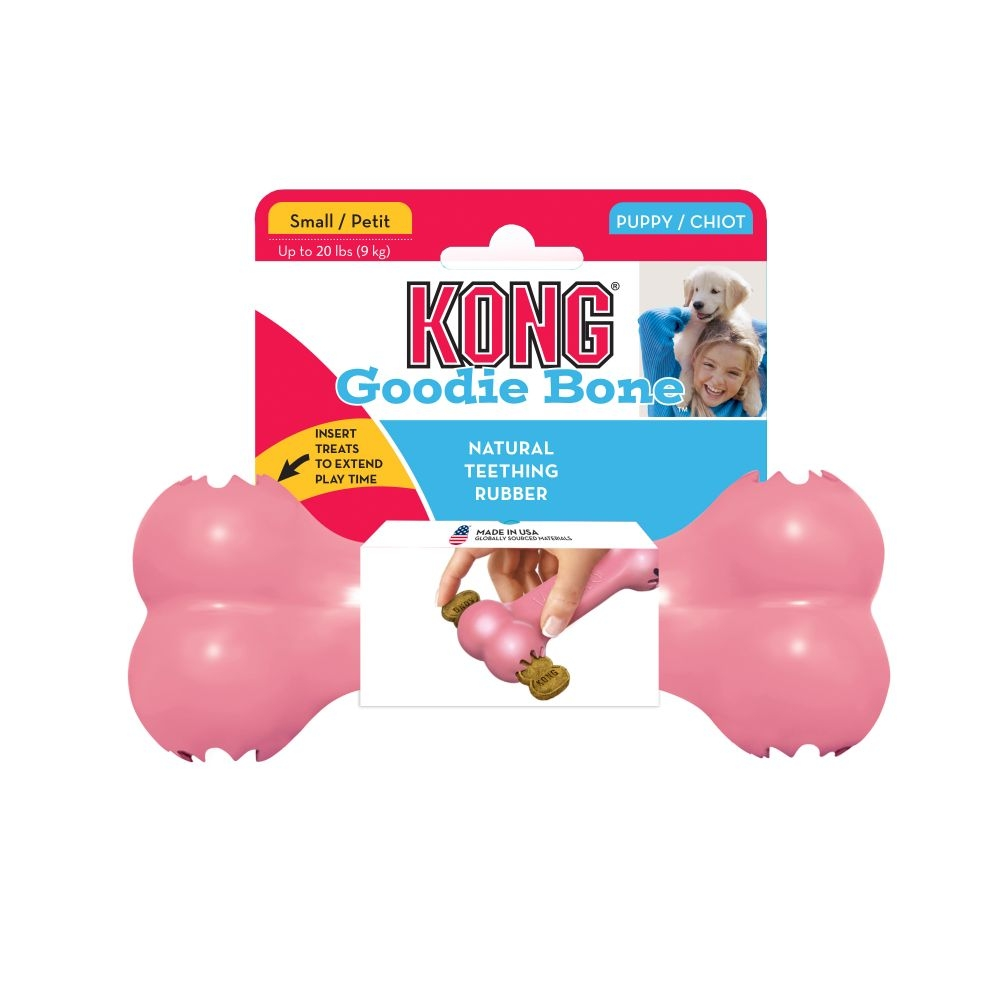Kong puppy goodie bone roze of blauw assorti