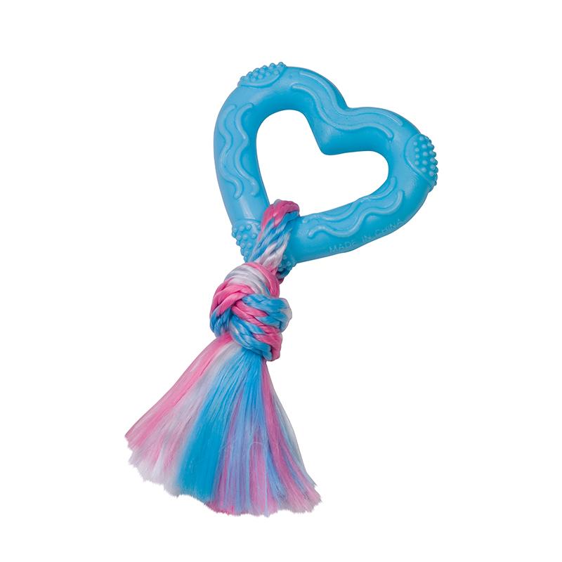 Tpr hart met polyester touw lichtblauw