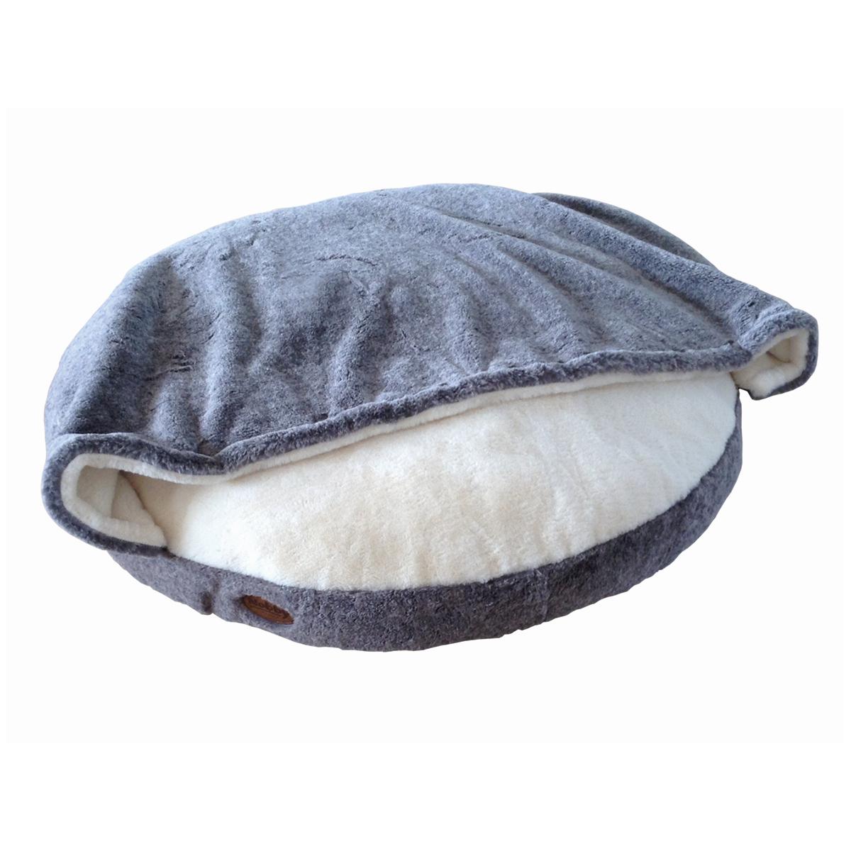 Rond kussen met deken licht grijs