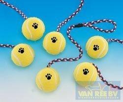 Dog toy tennisbal met touw geel