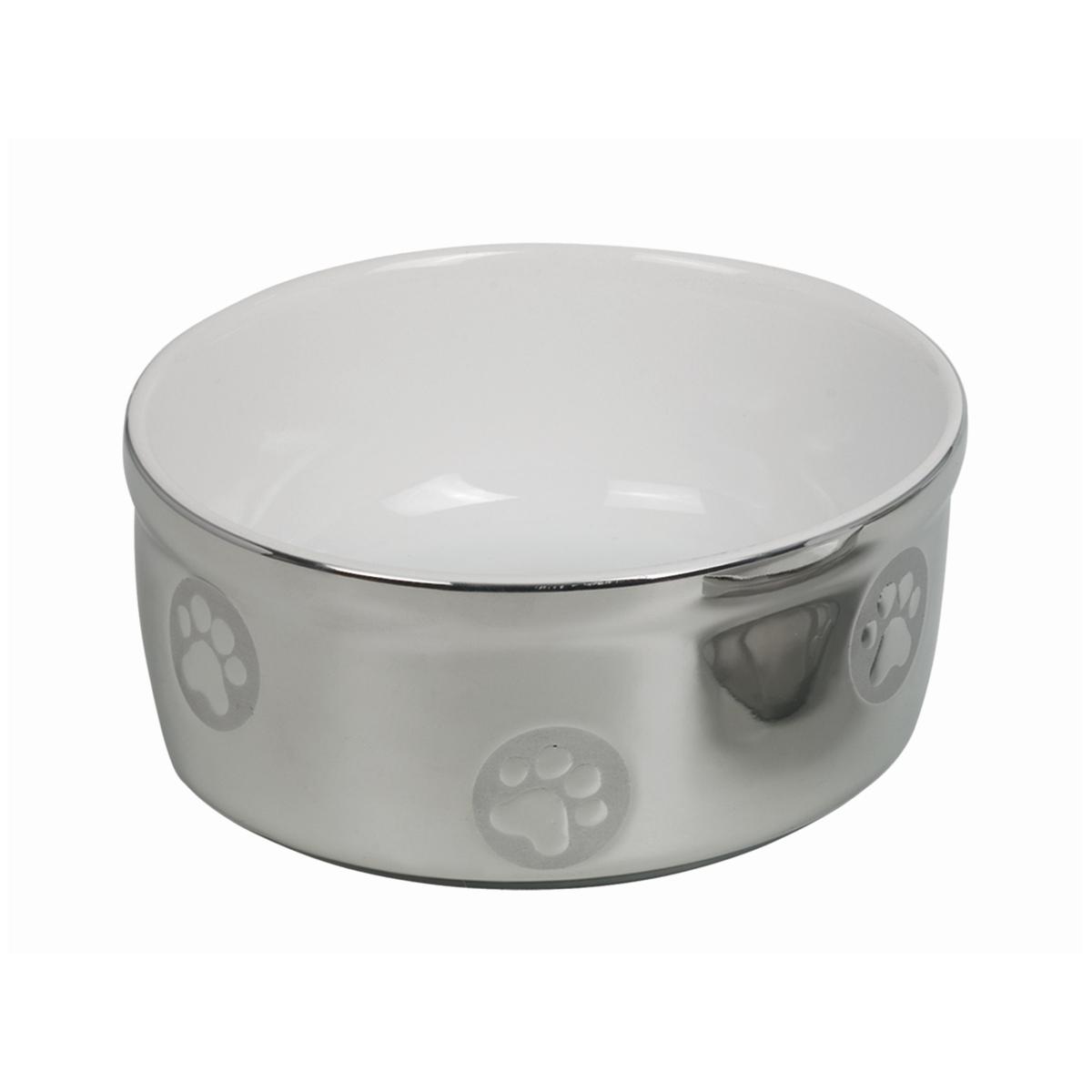 Eetbak metallic zilver / wit