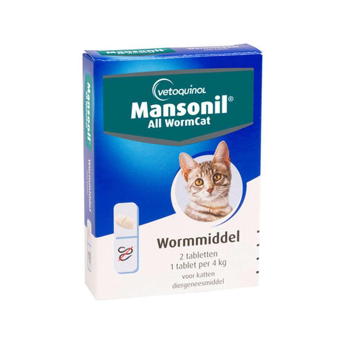 Productafbeelding voor 'Mansonil - wormmiddel ellipsoid kat blauw/wit 2 tabl'