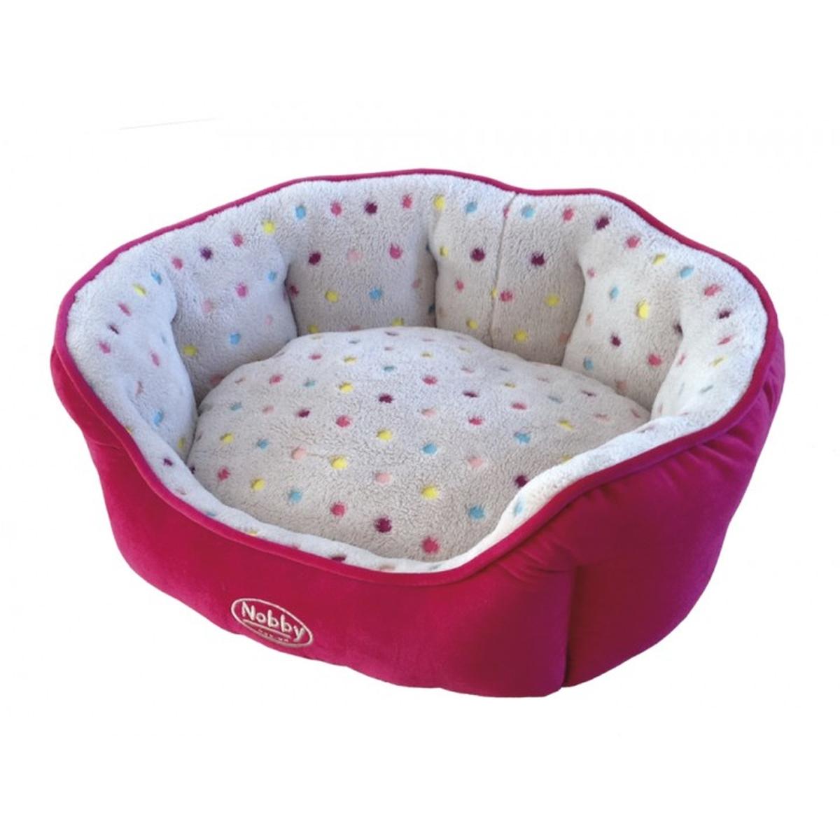 Bed spot roze / licht grijs