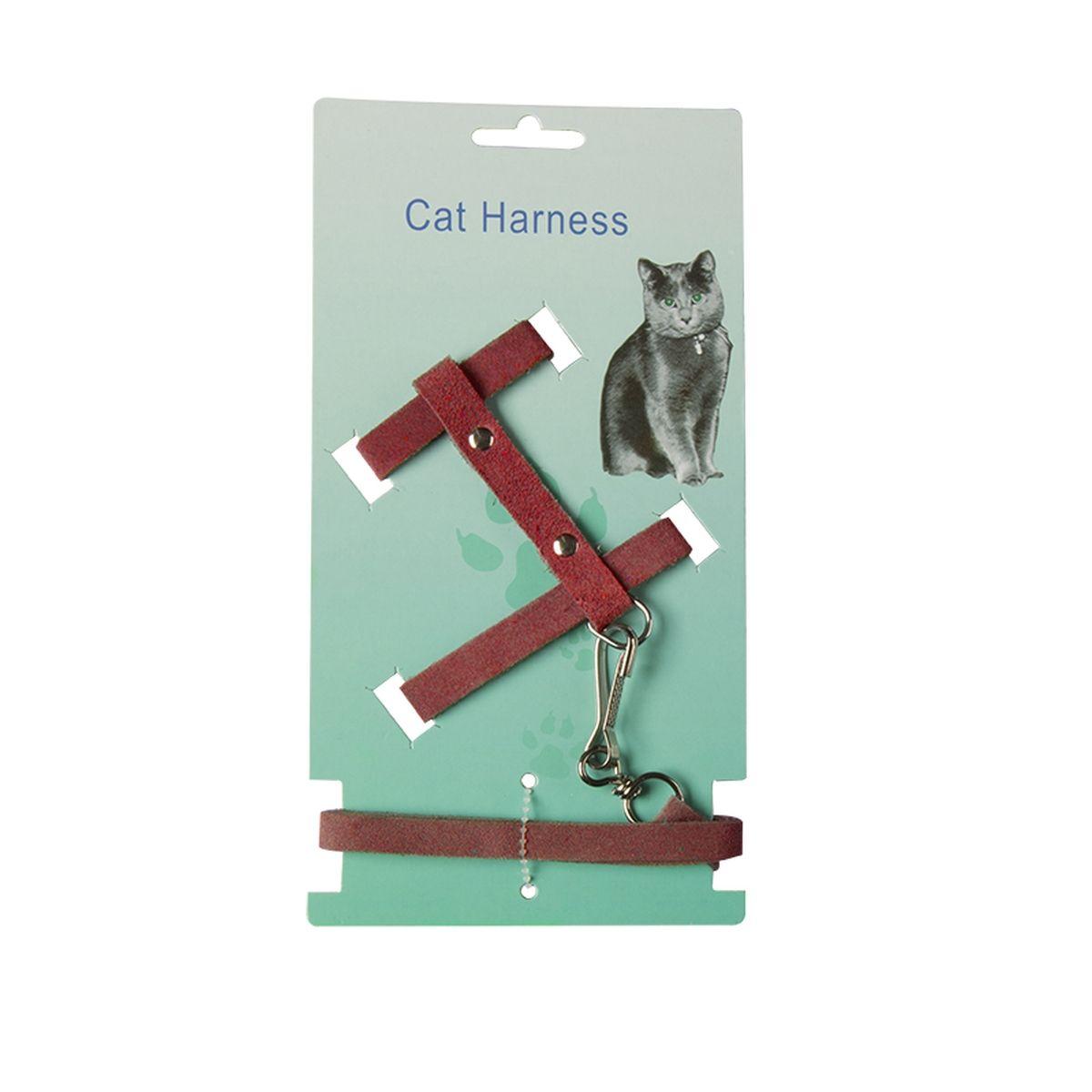 CAT HARNESS+LIJN SUEDE ZWART N 00001