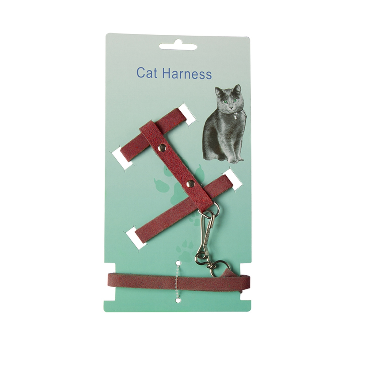 CAT HARNESS+LIJN SUEDE ROOD N 00001