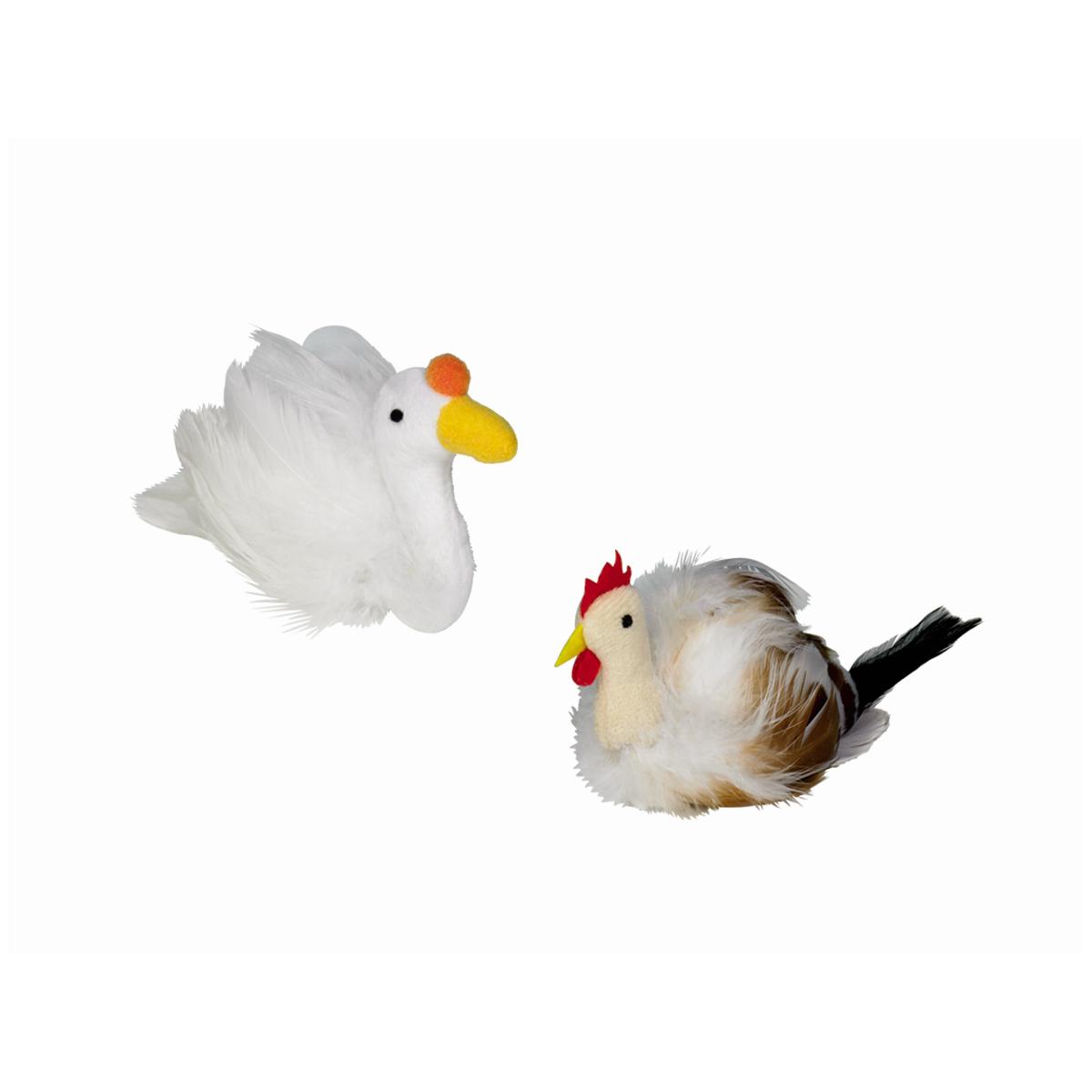 Pluche eend veren catnip wit