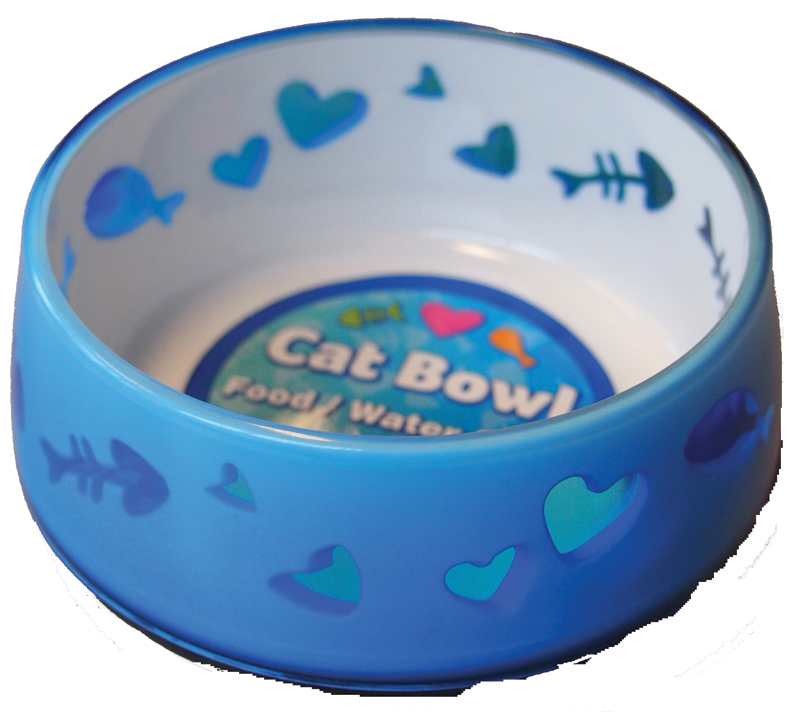 Eetbak kitty love blauw 300 ml