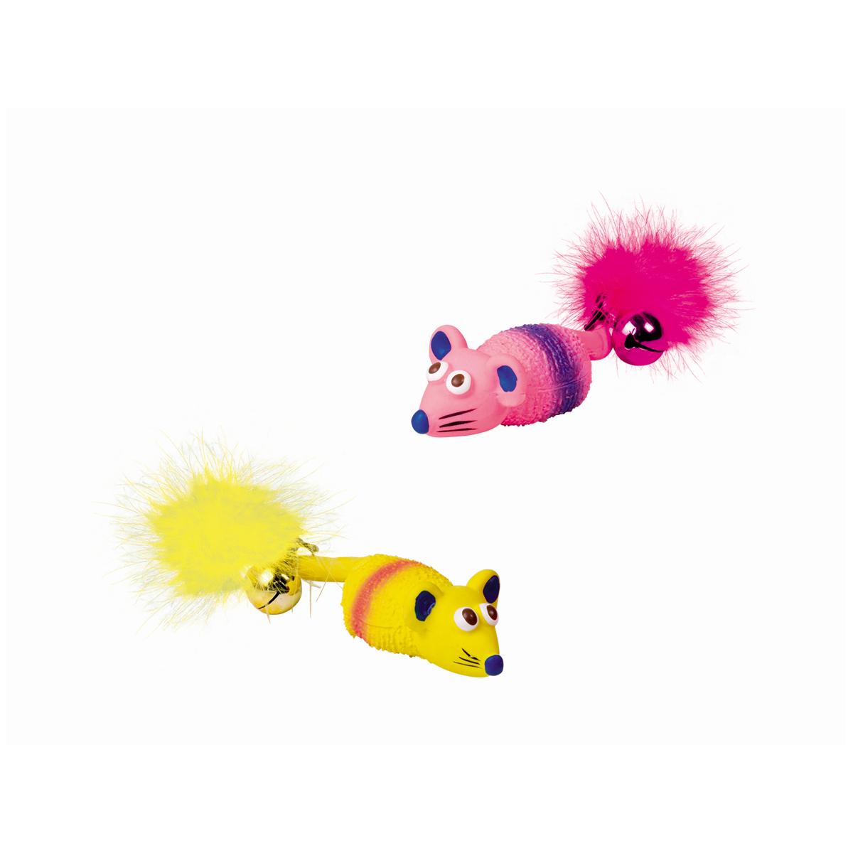 Latex muis geel/roze 2 st op blister