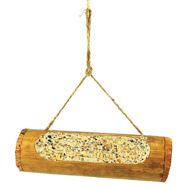Bamboe gevuld met zaden en vet meerkleurig