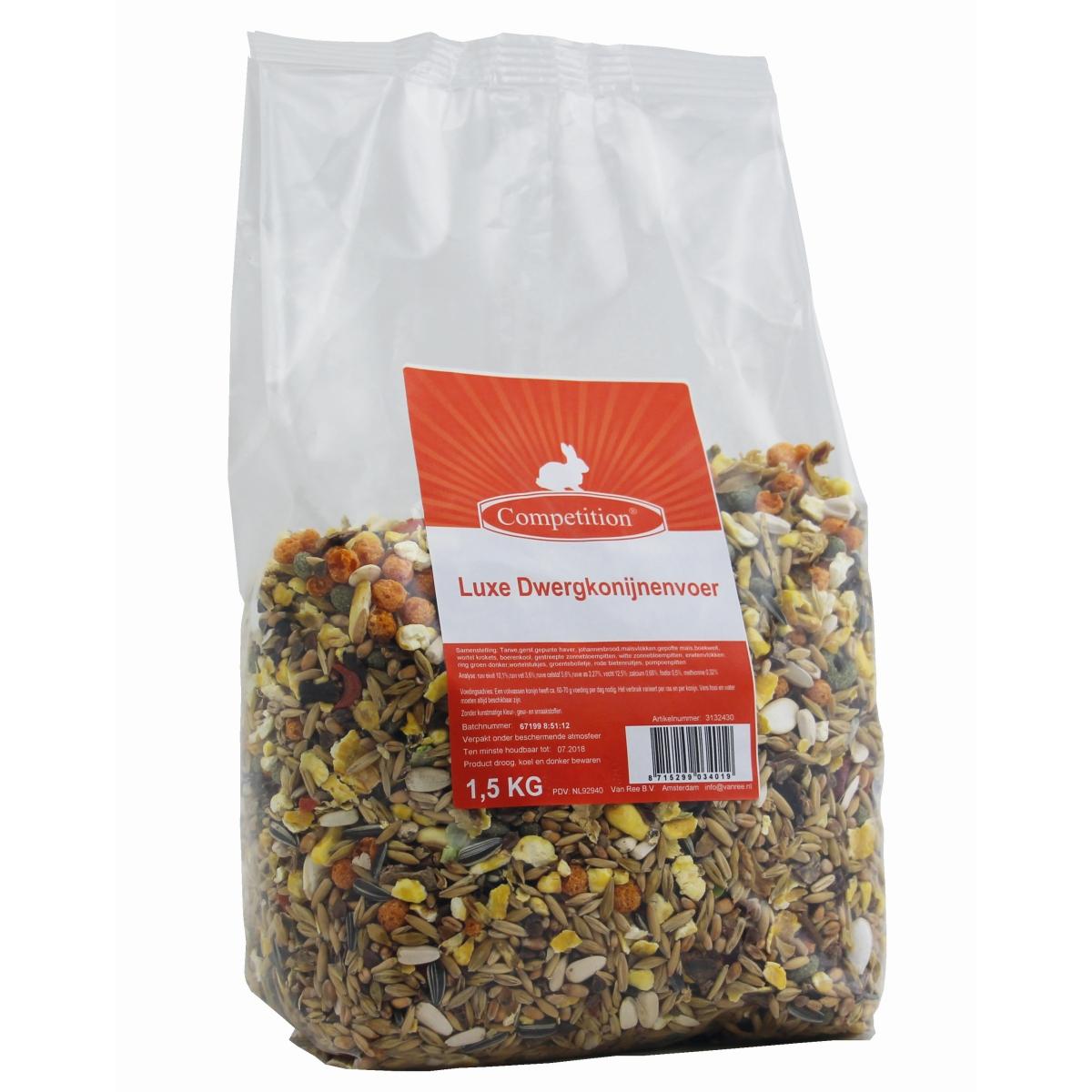 Luxe gemengd dwergkonijnenvoer 1,5 kg