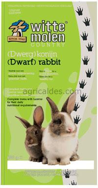 Witte molen - country (dwerg)konijn meerkleurig 2 kg